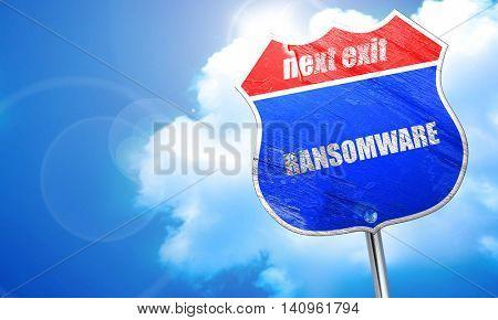 Ransomware, 3D rendering, blue street sign