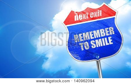 remember to smile, 3D rendering, blue street sign