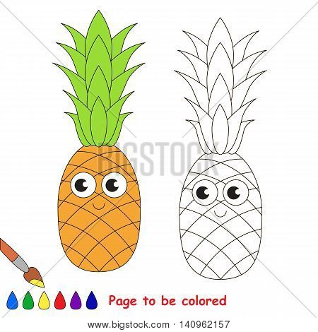 Sweet pineapple to be colored. Coloring book to educate kids. Learn colors. Visual educational game. Easy kid gaming and primary education. Simple level of difficulty. Page for coloring.