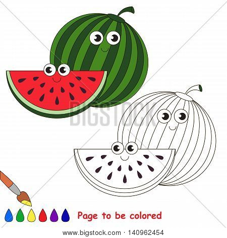 Sweet watermelon to be colored. Coloring book to educate kids. Learn colors. Visual educational game. Easy kid gaming and primary education. Simple level of difficulty. Coloring pages.
