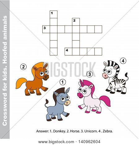 Horse and donkey, zebra and unicorn. The easy level. The simple crossword for children. Task and answer. Colorful version.
