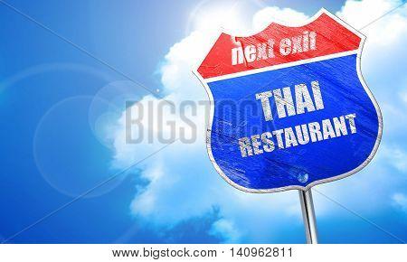 Delicious thai cuisine, 3D rendering, blue street sign