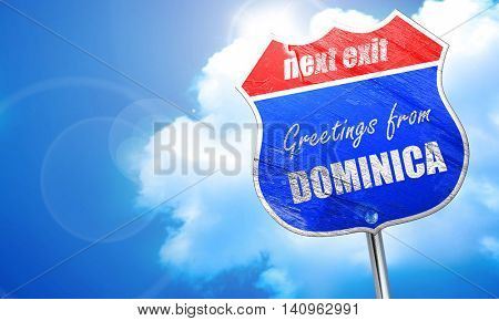 Greetings from dominica, 3D rendering, blue street sign