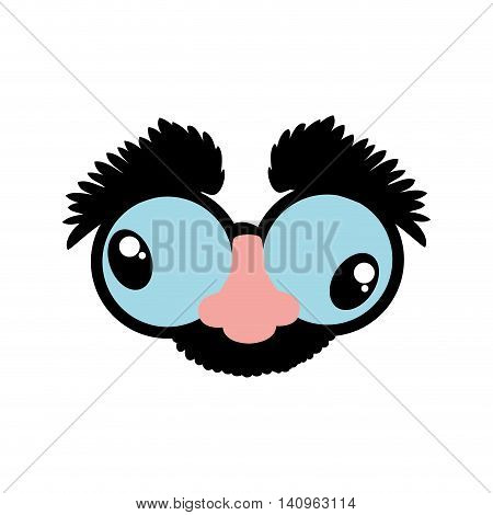 cartoon glasses nose face icon. Mask concept.  Isolated and flat illustration. Vector graphic