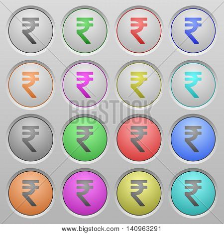 Set of Indian Rupee sign plastic sunk spherical buttons.