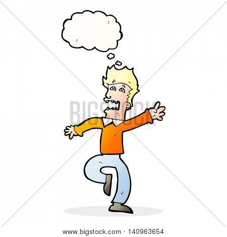 cartoon man panicking with thought bubble