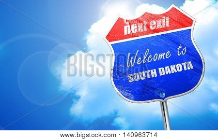 Welcome to south dakota, 3D rendering, blue street sign