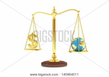 balance concept world and money on the scales. 3D rendering isolated on white background