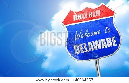 Welcome to delaware, 3D rendering, blue street sign
