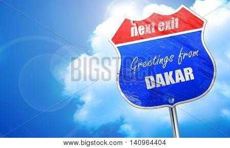 Greetings from dakar, 3D rendering, blue street sign
