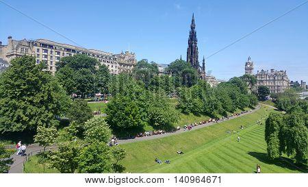 Scott Monument and Princess Gardens Edinburgh, Scotland, UK