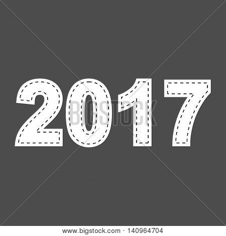 Year 2017. White stitched text with dashed borders. Isolated vector illustration.