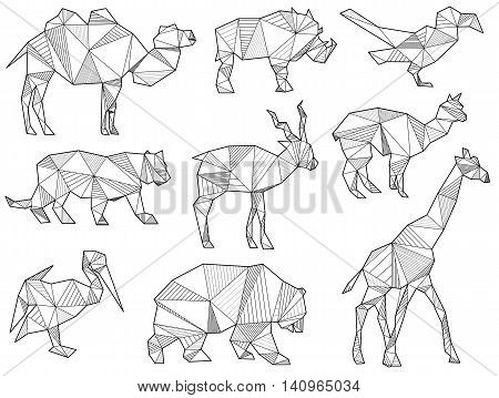 Vector Set Of Origami Wild Animal Silhouettes