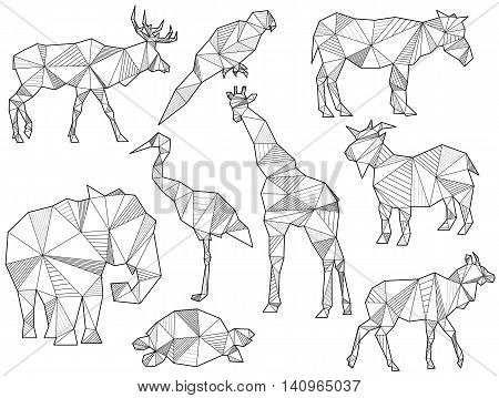 Vector Set Of Origami Animal Silhouettes
