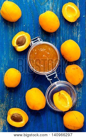 Homemade Organic Apricots Jam On Wooden Rustic Table