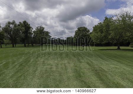 A look down the Fairway of a beautiful golf course