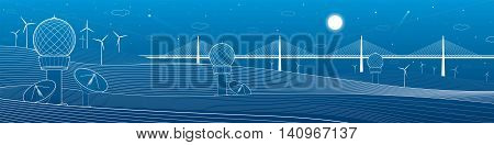 Weather Stations. Mountains landscape. Big bridge on horizon, windmills, wind force, energy and transportation illustration, vector design art
