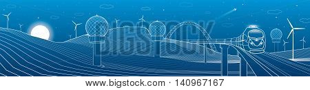 Train move. Weather Stations. Mountains landscape, windmills, wind force, energy and transportation illustration, vector design art