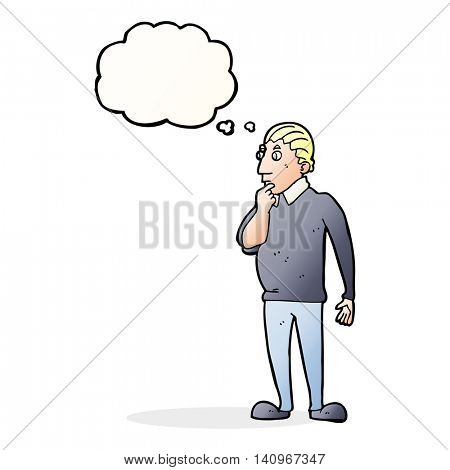 catoon curious man with thought bubble