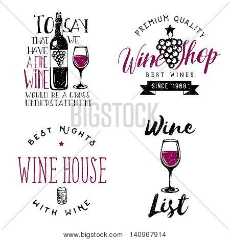Wine themed badges, logos, labels in vintage style. Wine related retro logotype templates, insignias, signs, symbols.