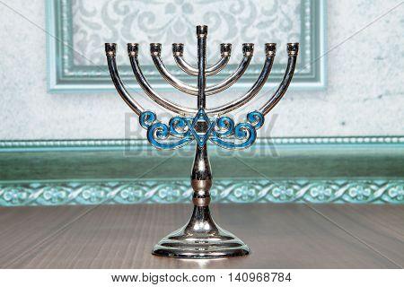 A silver Menorah for the Hanukkah holiday