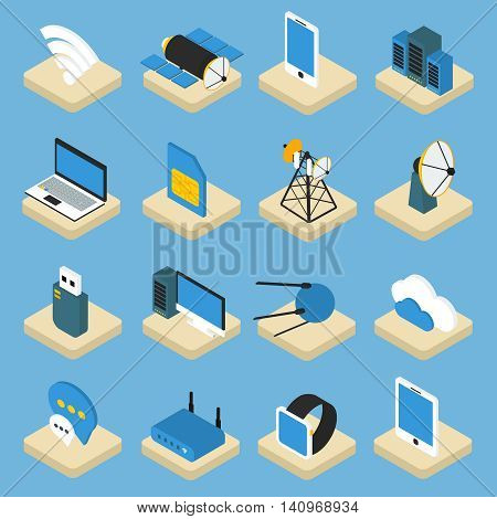 Wireless technology isometric icons on pedestals with radio equipment computers satellites on blue background isolated vector illustration