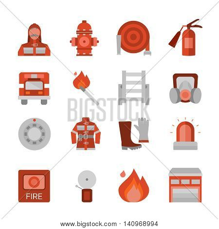 Fire department flat icons set with building professional equipment and clothing burning match isolated vector illustration