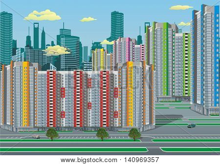 The city's skyline. Modern city. High-rise building. Vector illustration