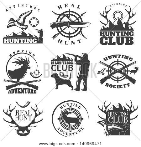 Hunting emblem set with adventure hunting hunting club and real hunt descriptions vector illustration