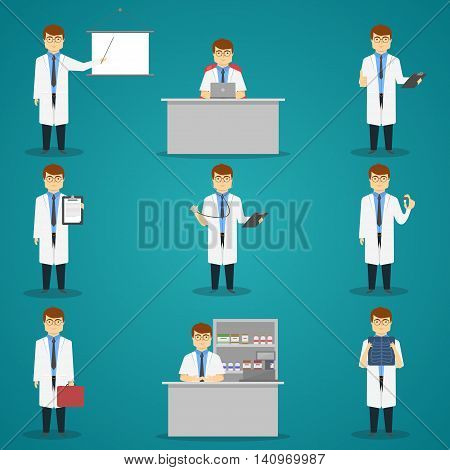 Doctor set of characters with medical objects for therapy or examination on blue background isolated vector illustration
