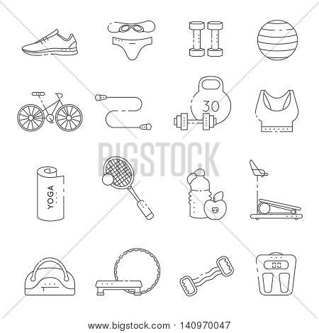 Isolated fitness gym line icon set in linear style with equipment for training vector illustration