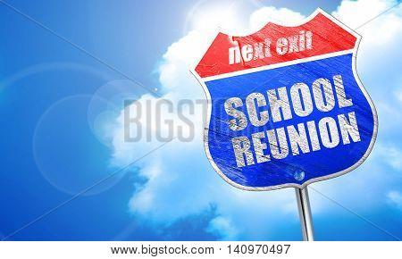 school reunion, 3D rendering, blue street sign