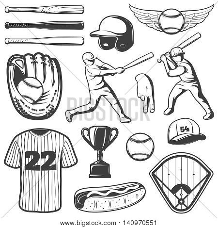 Baseball monochrome elements set with logo sports outfit and gesture trophy players hot dog isolated vector illustration