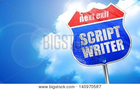 script writer, 3D rendering, blue street sign