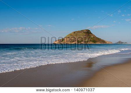 Recreio dos Bandeirantes Beach and Pontal Rock in the Ocean in Rio de Janeiro, Brazil