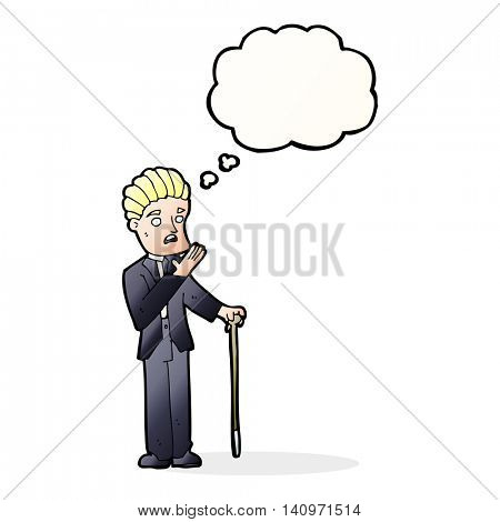 cartoon shocked gentleman with thought bubble