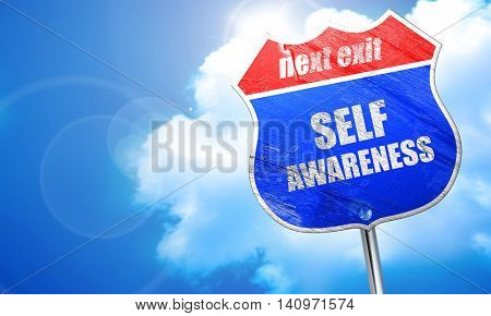 self awareness, 3D rendering, blue street sign