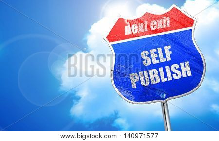 self publishing, 3D rendering, blue street sign