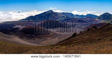 Panoramic View Of Volcanic Landscape At Haleakala, Maui