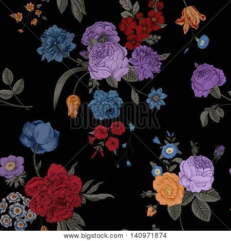 Seamless vector vintage pattern with Victorian bouquet of vivid flowers on a black background. Purple roses blue anemone tulips delphinium petunia with green leaves.