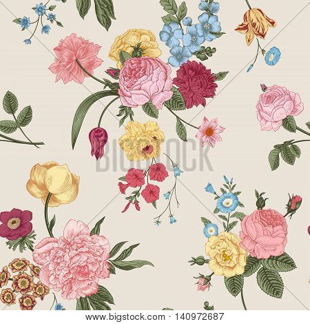 Seamless vector pattern with Victorian bouquet of colorful flowers on a gray background. Pink roses tulips blue delphinium.