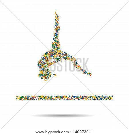 Gymnastics Floor Exercise Athletes 2016 Summer Games. Isometric Athlete.Sporting Championship International Competition. vector illustration