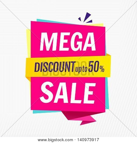 Mega sale banner template. Discount up to 50. Vector illustration EPS 10