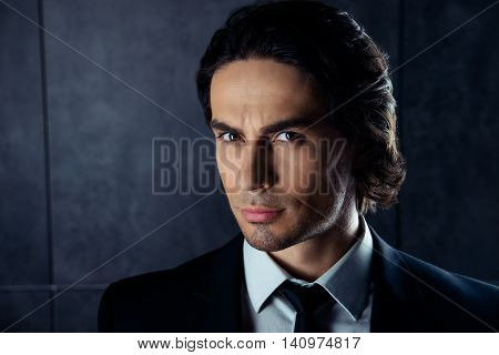 Closeup Portrait Of Handsome  Young Man In Formalwear With Stubble
