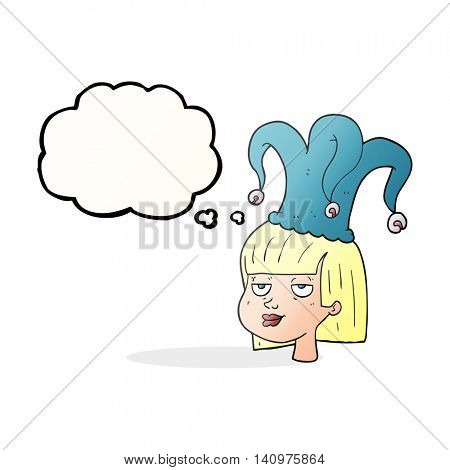 freehand drawn thought bubble cartoon female face with jester hat