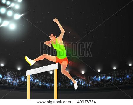 Creative illustration of a man jumping over hurdle on shining stadium background for Sports concept.