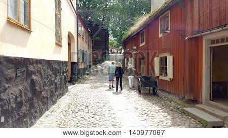 Street in Skansen Open Air Museum in Stockholm, Sweden