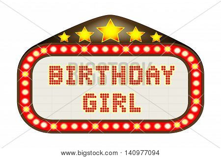 A Birthday Girl movie theatre or theatre marquee.