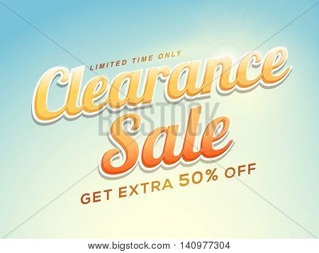 Clearance Sale with Extra 50% Off for Limited Time Only, Creative Sticker, Tag or Label design.