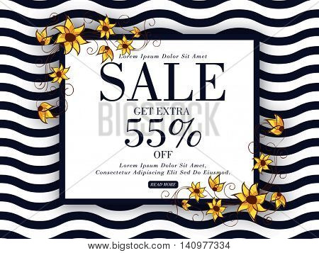 Beautiful flowers decorated, Creative Poster, Banner or Flyer design of Sale with 55% Discount Offer.